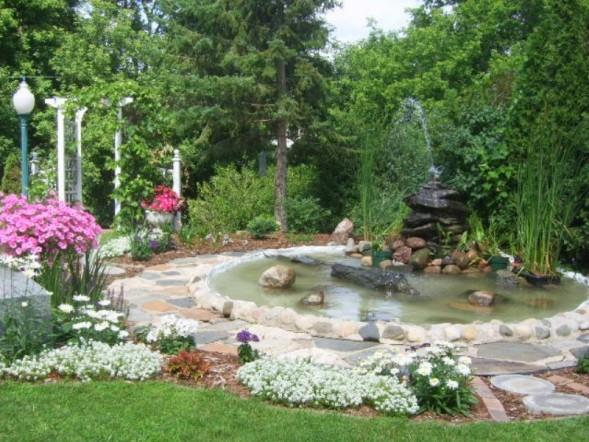 garden and water fountain